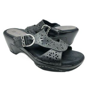 White Mountain (8.5) Black Leather Mule Sandals